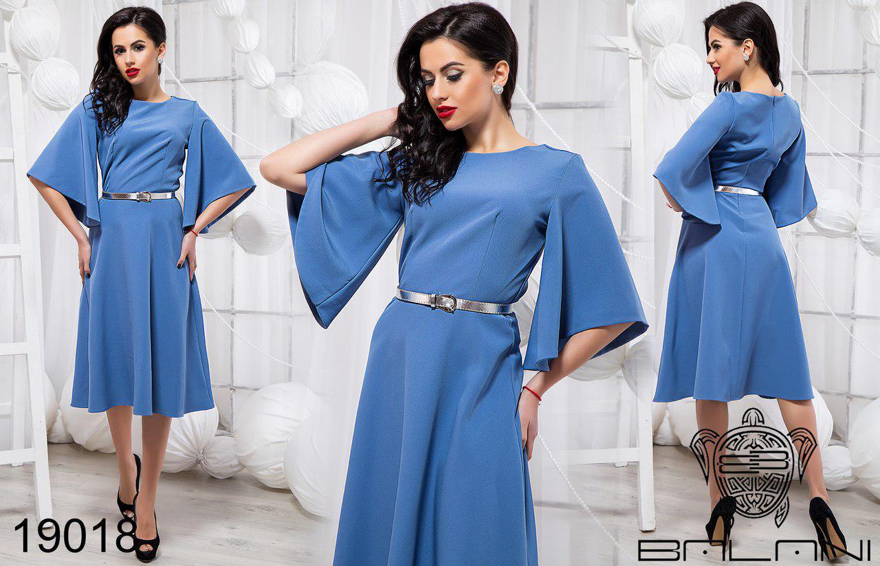 Стильное платье-клеш до колен голубого цвета украинская фабрика ТМ Balani (42,44,46)
