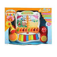 Детское игрушечное пианино 3108 муз, свет, на бат-ке, в кор-ке, 38-28-10см