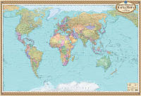 Карта мира политическая 1:22 млн картонная на планках 7007
