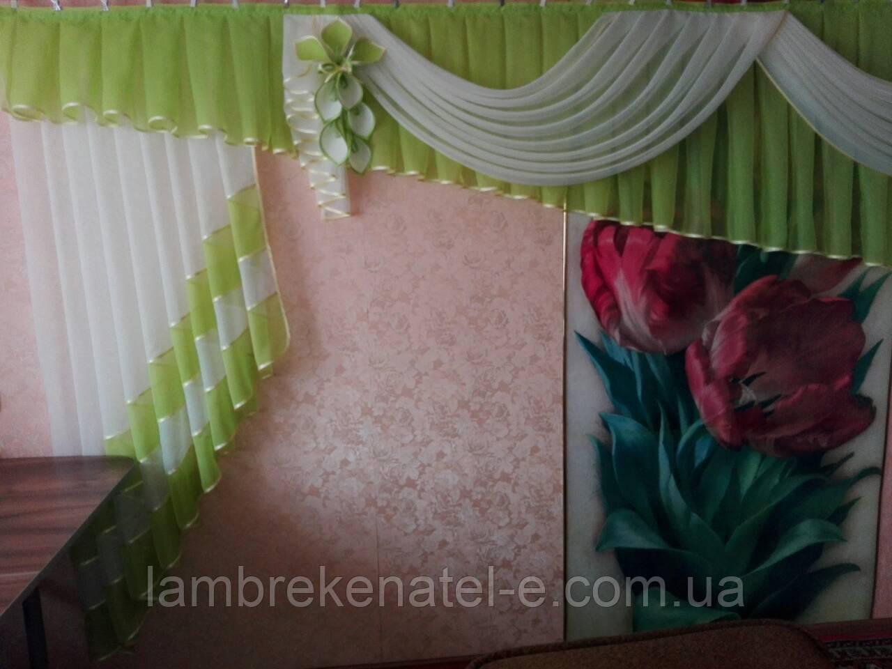 Ламбрекен в зал салатовый