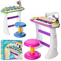 Детское игрушечноеПианино 7235 Музыкант, на подставке, стул, микрофон, 2цвета, на бат-ке, в кор-ке.