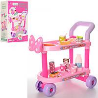 Детская игрушечная тележка XS-14092 для посуды, 45-45-23 см, посуда, продукты, муз, свет, на батарейке в коро