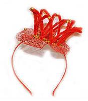 Обруч для девочки для волос Корона красный