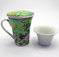 Чашка чайная керамика заварочная с ситом Павлины