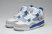 Мужские кроссовки Air Jordan Retro 4 (White/Blue/Grey), фото 1