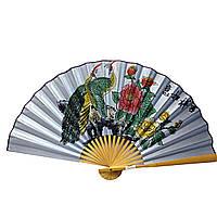 Веер настенный бамбук и шелк