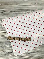 Бумага подарочная глянцевая белая 70см*10м в сердечки красные, фото 1