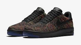 Мужские кроссовки Nike Air Force 1 Low Flyknit Blаck/Bright Crimson