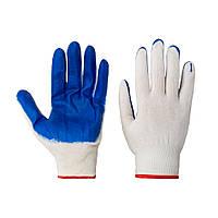 Перчатки хозяйственные Rubin бело-синие