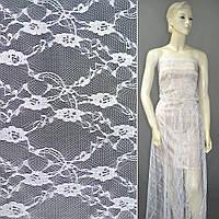 Гипюр белый с цветами ш.150