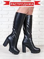 Стильные кожаные сапоги на широком каблуке. АРТ- 6153-28.3