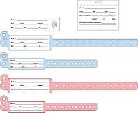 Браслет идентификационный  JS для новорожденного (размер S голубой, розовый) №1