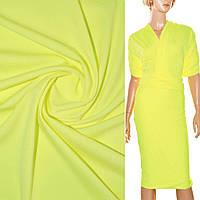 Трикотаж ткань трикотажная костюмный стрейч облегченный, легкий, летний желтый
