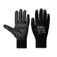 Перчатки хозяйственные V-v PU черные