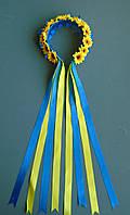 Віночок  жовто-блакитного кольору на обручі зі стрічками