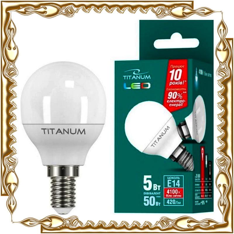 Лампочка светодиодная TITANUM LED G45 5W E14 4100K 220V