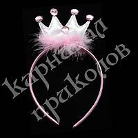 Аксессуар на ободке Корона с пухом (розовый)