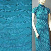 Трикотаж морская волна с рюшами ш.160
