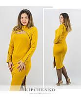 Желтое платье 15447, батал