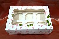 Коробка для 6-ти кексов 250*170*80 (с окошком) с принтом роза, фото 1
