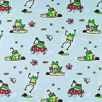 Трикотаж ( трикотажная ткань ) Darling хлопок с эластаном зеленый в лягушки,букашки ш.150, итальянская ткань (