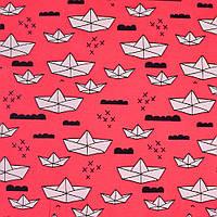 Трикотаж ( трикотажная ткань ) Gersey D хлопок с эластаном ярко-розовый в белые кораблики ш.150, итальянская т