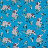 Трикотаж ( трикотажная ткань ) стрейч Darling бирюзовый слоны,мыши на велосипедах ш.150, итальянская ткань ( и