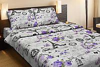 Красивое хлопковое полуторное постельное белье Lotus LOUVRE ЛИЛОВЫЙ