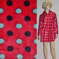 Велсофт махра махровая ткань красная с разноцветными кругами ш.185,