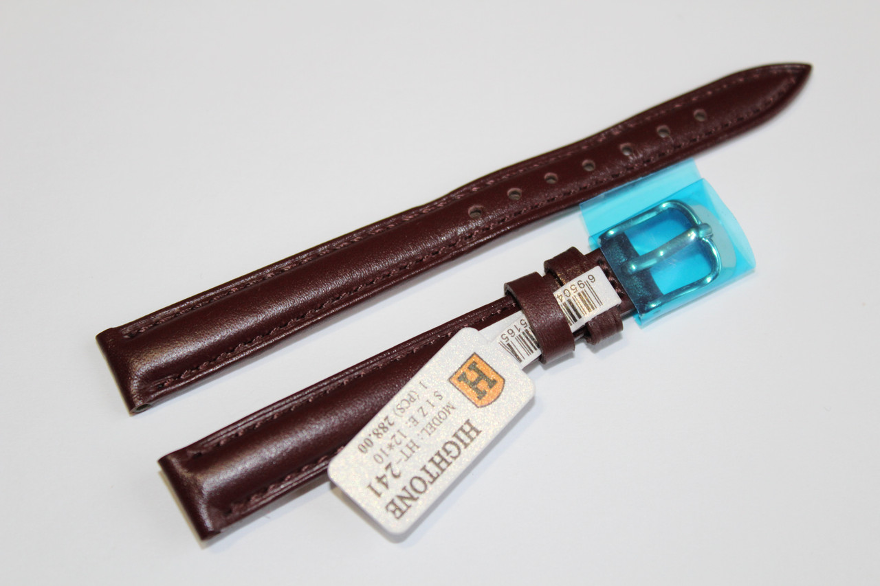Кожаный ремень для  наручных часов HIGHTONE-темно-коричневый гладкий 12 мм
