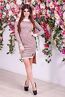 Женское стильное платье двойка с 42-46 размер цвет персик, фото 1