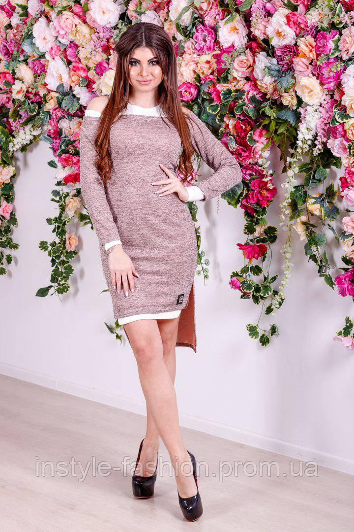 Женское стильное платье двойка с 42-46 размер цвет персик