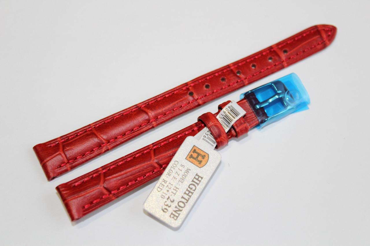 Кожаный ремень для  наручных часов HIGHTONE- красный выделкой под крокодил12 мм