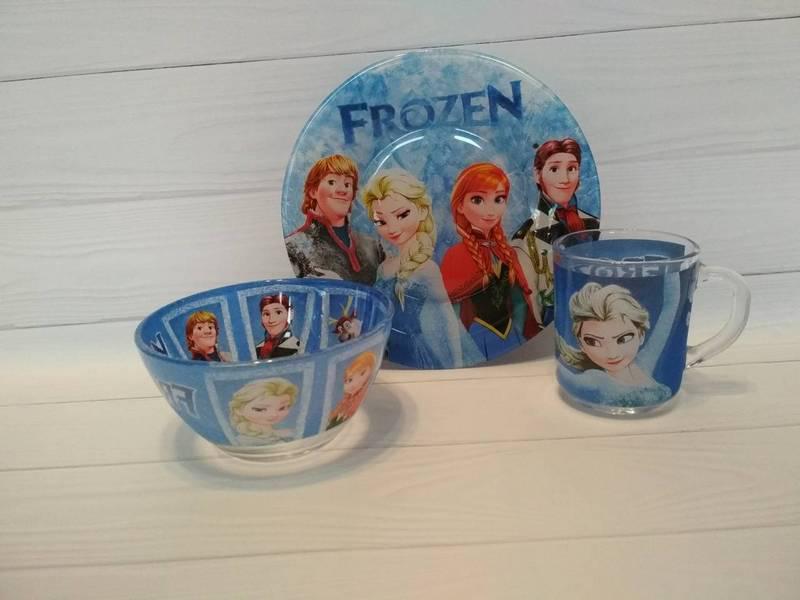 Дитячий набір посуду холодне серце з 3-х предметів
