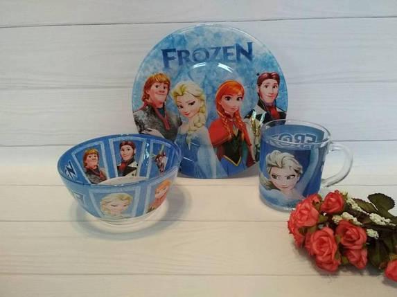 Дитячий набір посуду холодне серце з 3-х предметів, фото 2