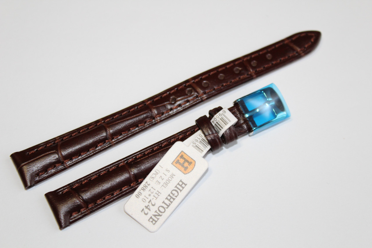 Кожаный ремень для  наручных часов HIGHTONE-коричневый ремень, выделкой под крокодил 12 мм.
