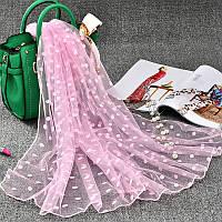 Стильный легкий женский шарф в горошек розового цвета