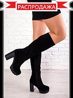 Модные сапоги на каблуке замшевые черного цвета на каблуке. АРТ- 6134-28.3