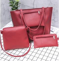 Красный набор из 3-х женских сумок с карманом