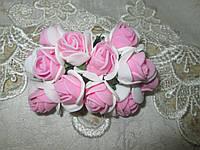 Роза 2 см біло-рожевий