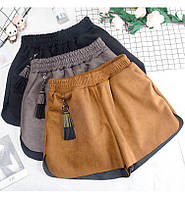 Женские замшевые шорты с карманами, фото 1