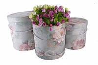 Коробка для цветов  с цветочным принтом (сиреневый)