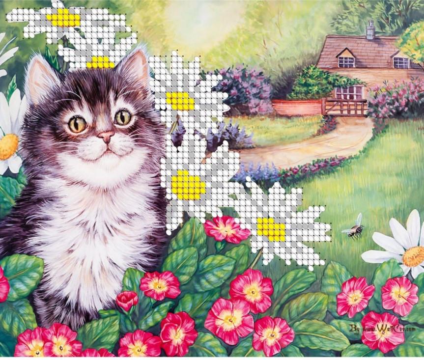 Схема для вишивки та вишивання бісером Бисерок «Кіт у ромашках» (A5) 15x18 (ЧВ-2304)