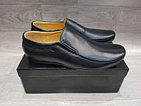 Мужские кожаные черные туфли мокасины