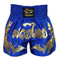Шорты для тайского бокса Thai Professional (S16) Blue/Gold, фото 1