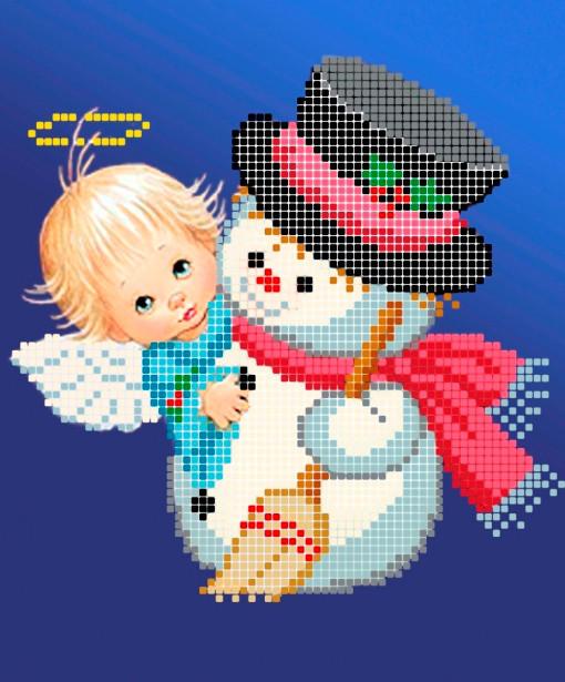 Схема для вишивки та вишивання бісером Бисерок «Ангел і сніговик» (A5) 15x18 (ЧВ-2335(10))