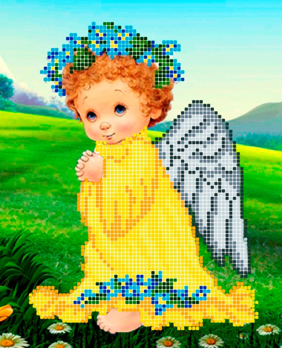 Схема для вишивки та вишивання бісером Бисерок «Ангел з незабудками» (A5) 15x18 (ЧВ-2334(10))