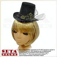 Женская шляпа цилиндр Стимпанк с шипами черная карнавальная