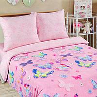 Полуторное постельное белье с простыней на резинке 90*200*25, Батерфляй, поплин