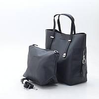 Женская сумка трапеция с косметичкой D. Jones black черная